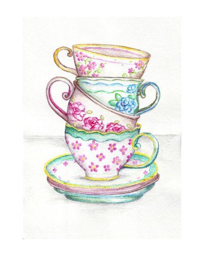 Tea Cup Art Kitchen Watercolor Painting Drawing Art Print