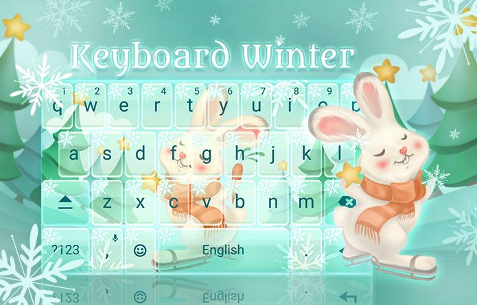 Cute Winter Bunny Theme for your Android Device #redrawkeyboard #christmas #snowflakes