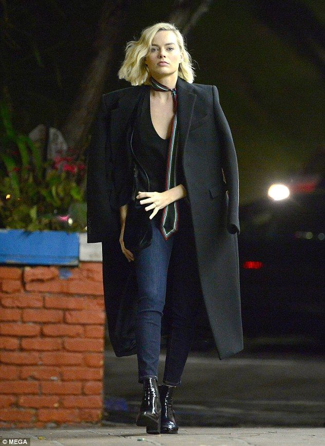 Winter layers: Actress Margot Robbie looked effortlessly stylish as she headed to meet friends at a restaurant in Los Angeles on Thursday night