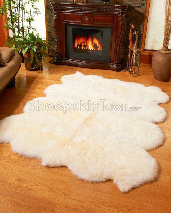White Sheepskin Rug by Bowron : Large Octo Lambskin Carpet at Sheepskin Town