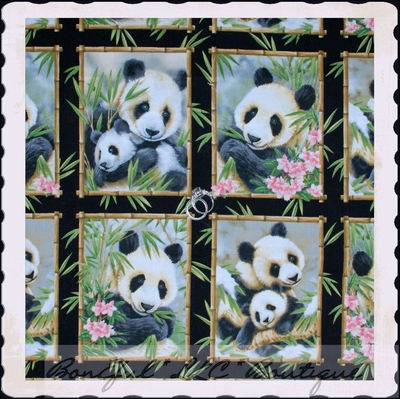 Boneful Fabric Cotton Quilt Square Block Panda Bear Bamboo