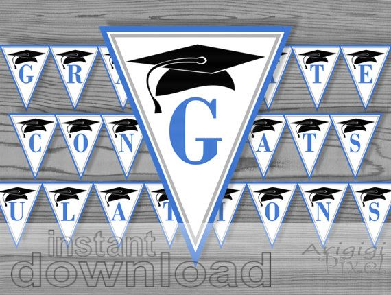 blue congrats  graduate printable party banner / by ArigigiPixel, $5.99