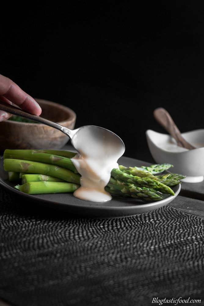 Put this hollandaise sauce and asparagus combo with taosted brioche soldiers, a poached egg, sauteed buttery mushroom......whatever you want!