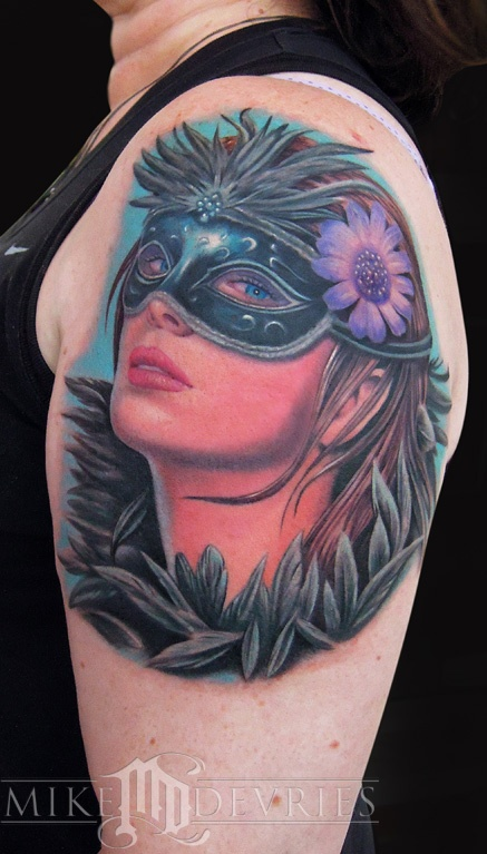 Mike devries masquerade girl tattoos by mike devries for Mobile tattoo artist
