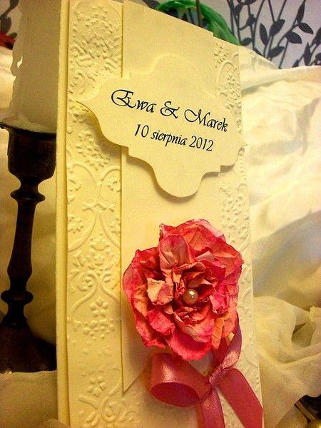 Wedding embossed romantic invitation in boxes  w Katrzynka na DaWanda.com