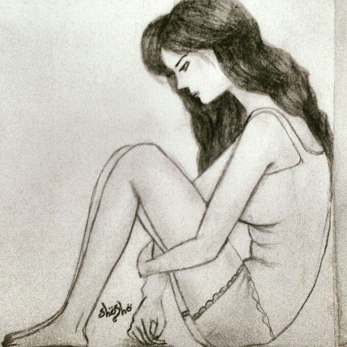 Sad depression girl pencil drawing