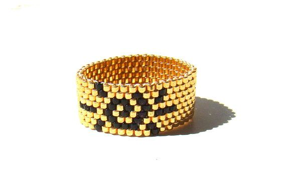 Gold and Black Sun Ring  Summer Sunshine Beaded by ElephantBeads