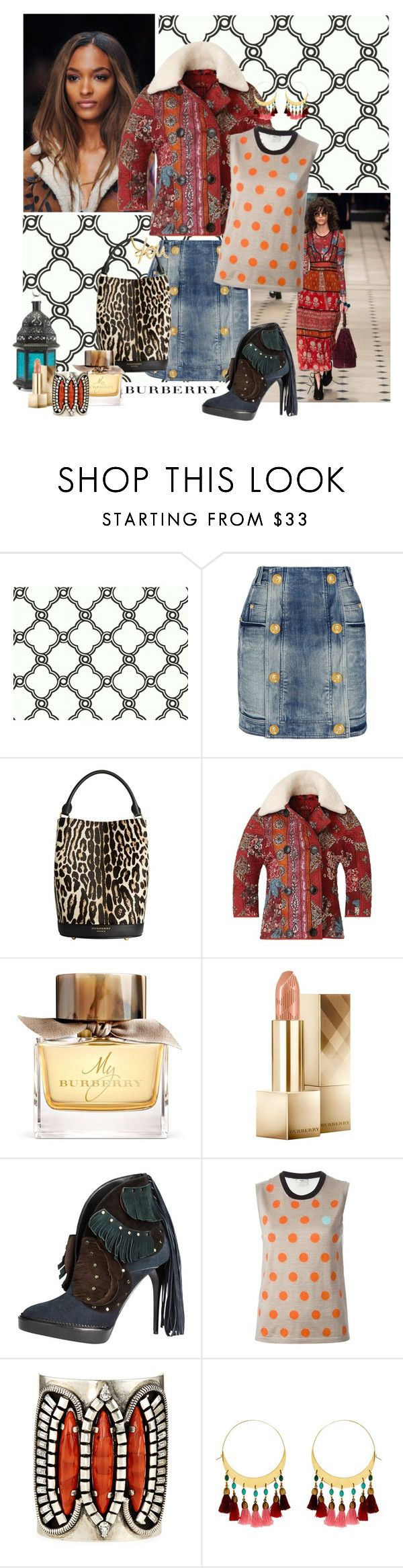 Inspired by Burberry 2015 by gilleyqwyn on Polyvore featuring Fendi, Burberry, Balmain, DANNIJO, Isabel Marant, Lanvin and York Wallcoverings