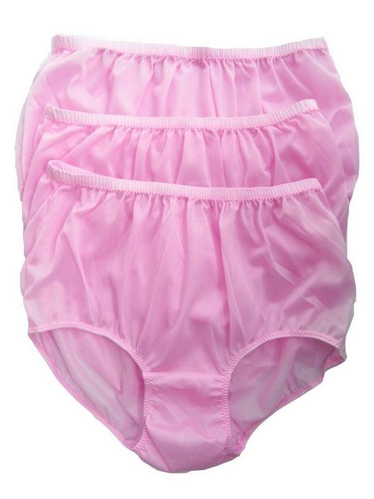 Wholesale lot 3 pcs fair pink granny briefs nylon tricot ...