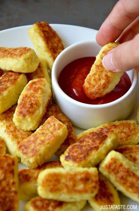 5-Ingredient Baked Cauliflower Tots Recipe - sub almond flour for bread crumbs & leave out parm.