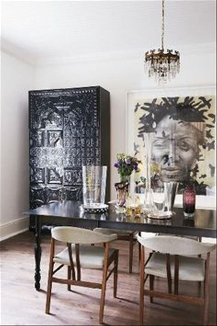 Dining Room Painting With Black Cupboard Also Rectangle Dining Table And  Flower Vase Besides White Modern Part 68