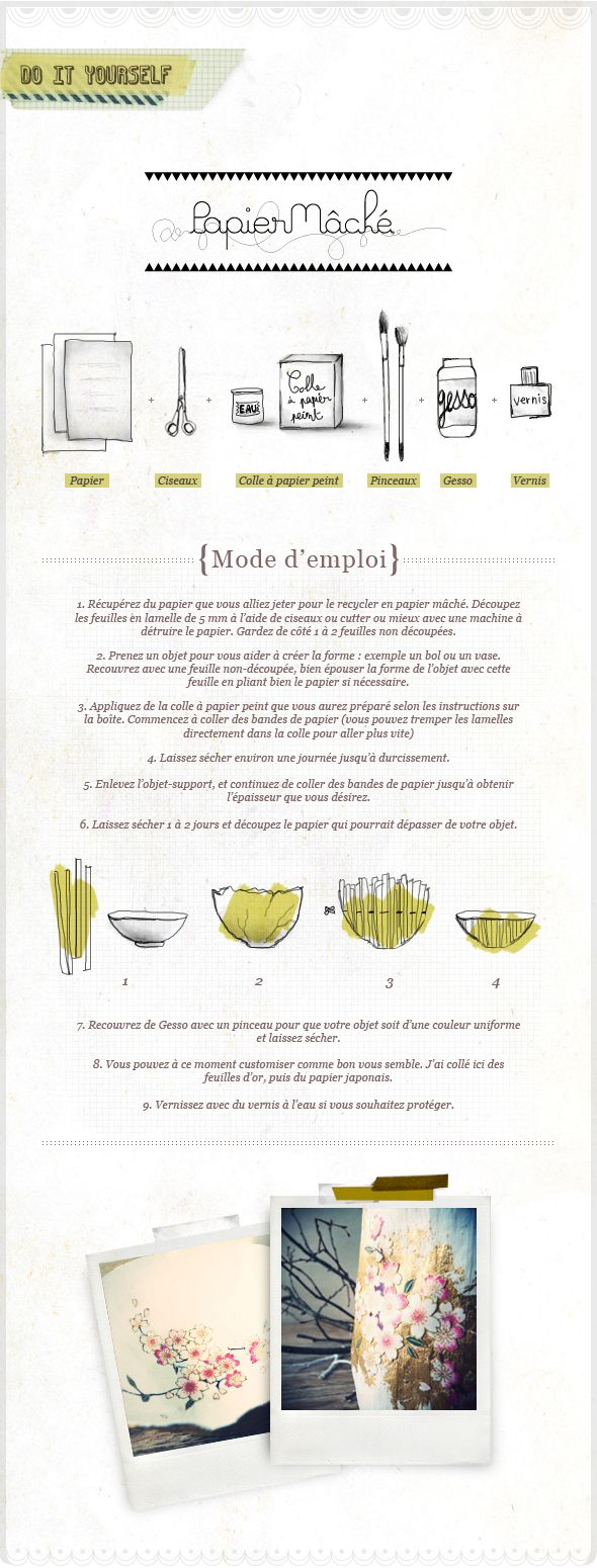 How to make decorative bowls/vases made with papier-mâché and patterned Japanese paper (in French) #floral