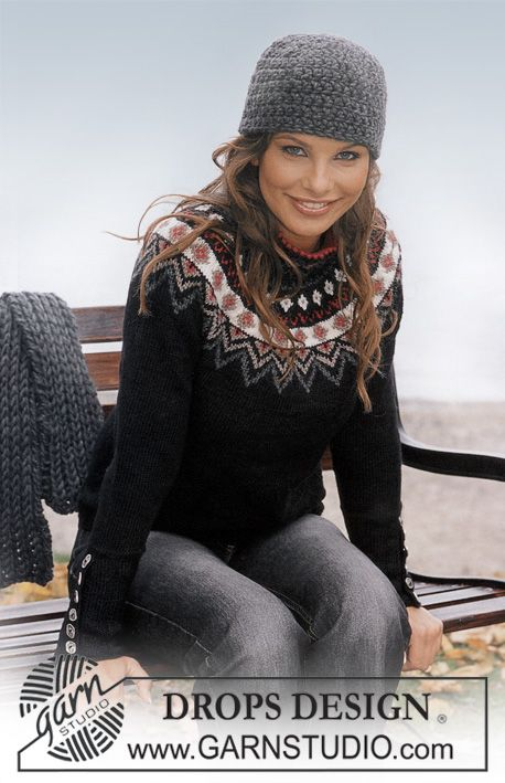 DROPS sættet består af: DROPS bluse med nordisk stjerner, hue og halstørklæde ~ DROPS Design. Tænker at lave den som cardigan i stedet for sweater.
