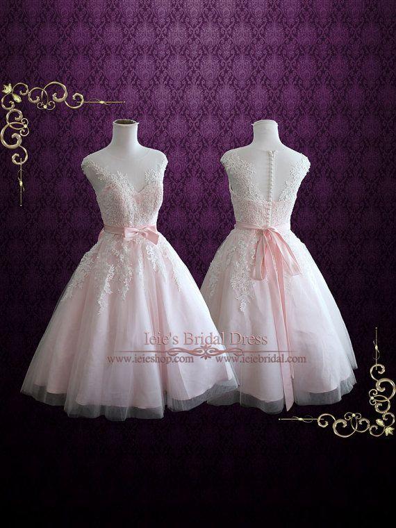 Pearl Pink Retro Tee-Längen-Hochzeits-Kleid-Abschlussball-Kleid-formales Kleid | Retro 50s 60s Wedding Dress | Kurz Wedding Dress | Rosalie