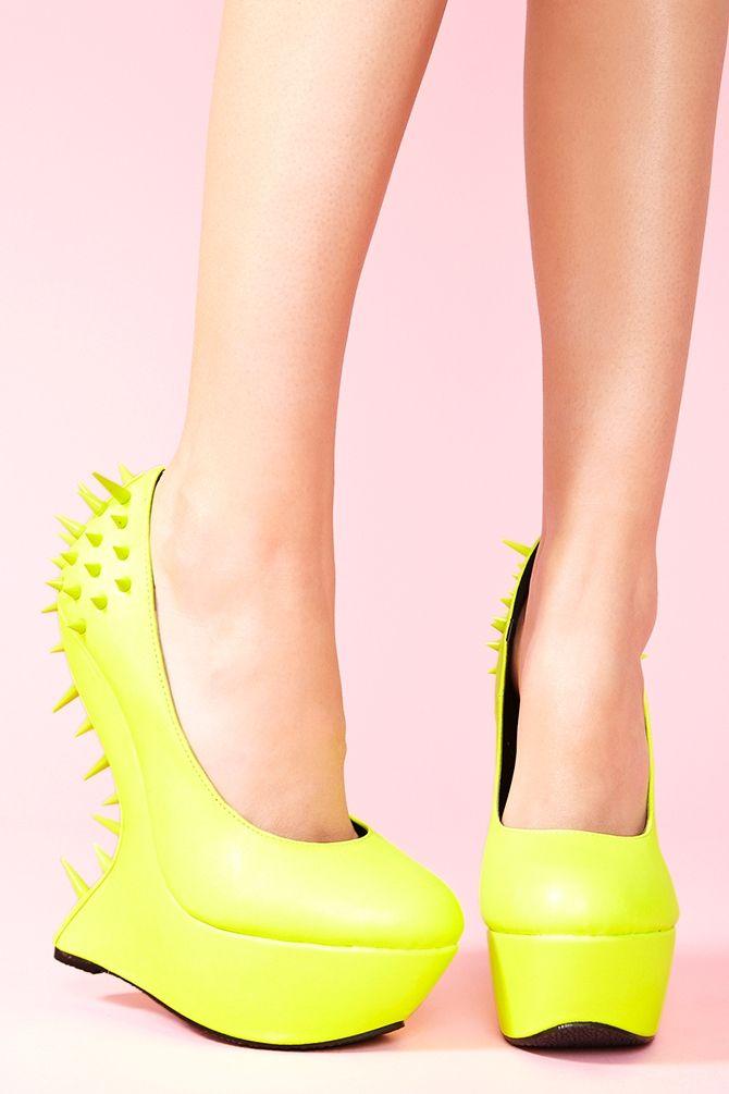 Nasty Gal Jolt Spike Platform Neon Yellow in Yellow   Lyst