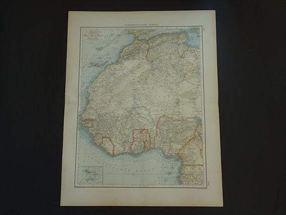 AFRICA map LARGE 1899 original old antique by VintageOldMaps