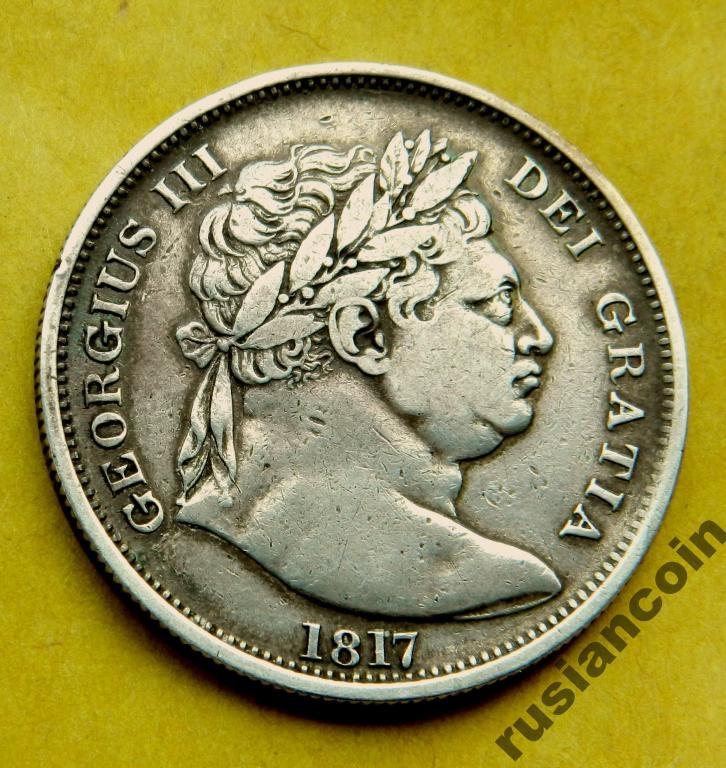 полкроны Англия 1817 ГеоргIII Бычья голова СЕРЕБРО Half crown 1817 Georg III