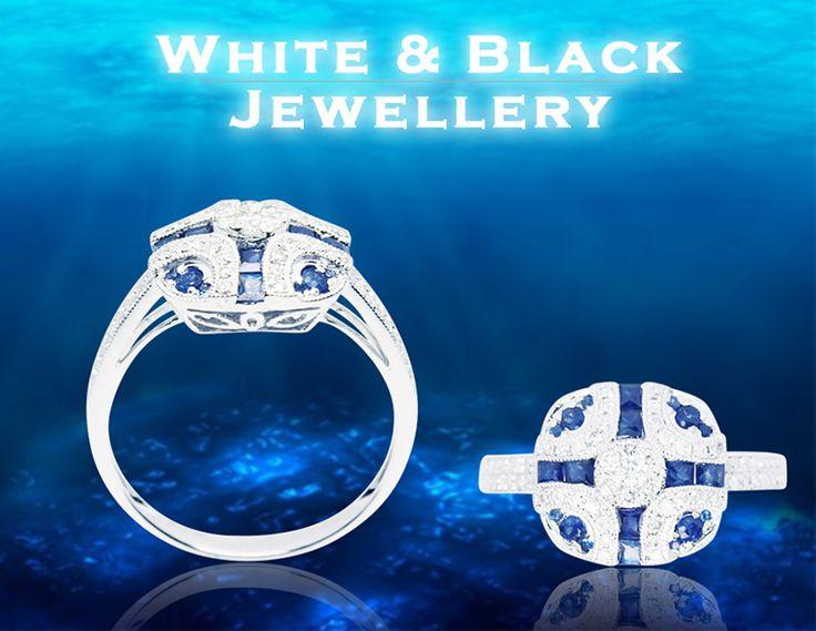 'Deep Blue' Eljegyzési gyűrű zafírokkal és gyémántokkal, fehéraranyból - 'Deep Blue' engagement ring with sapphires and diamonds