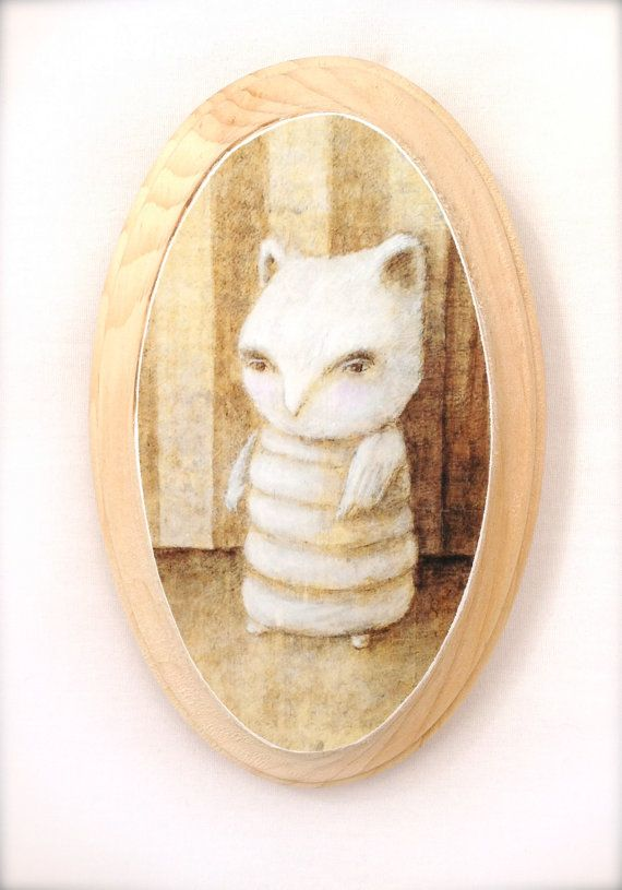 Chouette Cheveche (print mounted on wood)