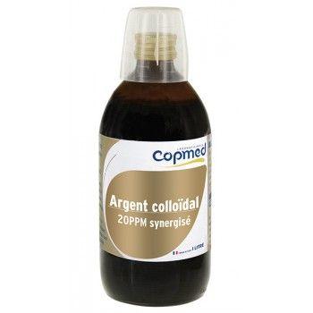 Argent colloïdal 20 PPM synergisé  Hydrate, purifie et apaise la peau.  Usage externe. Volume net 1 litre
