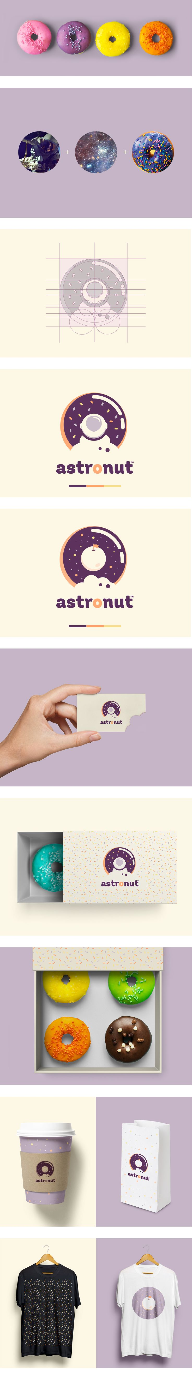Astronut is a new bakery from Mexico City specialized on donuts from outer space. Branding, Packaging & Business Cards