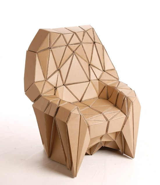 """Bravais armchair"" by Liam Hopkins and Richard Sweeney at Lazerian studio.  Honeycomb range of cardboard furniture."