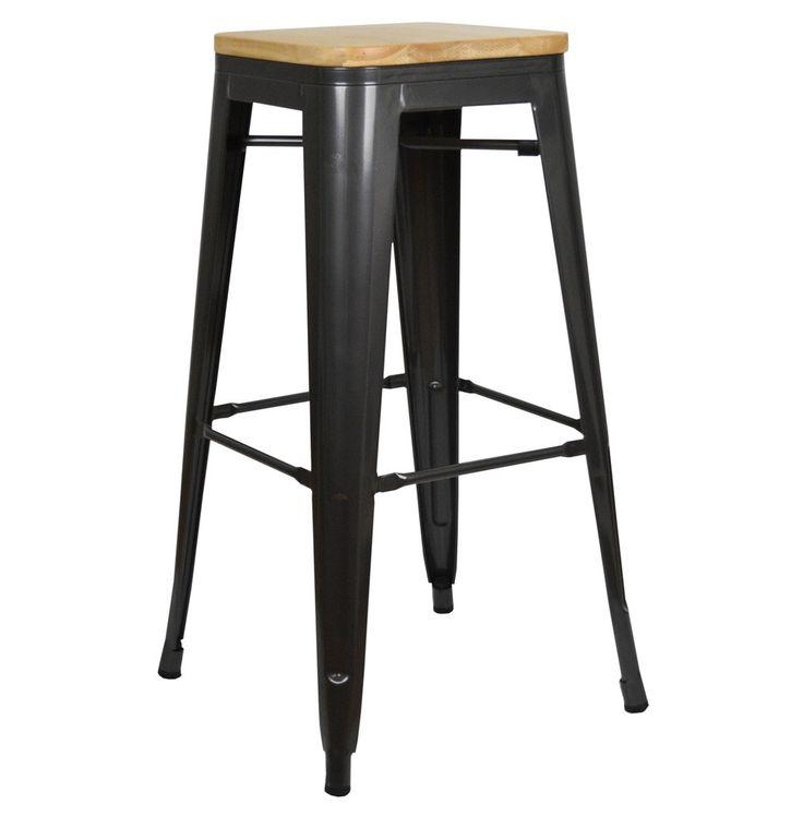 Taburete de madera y metal alto. Taburetes metálicos con asiento de madera de estilo industrial. #cocinas #bares #estudios
