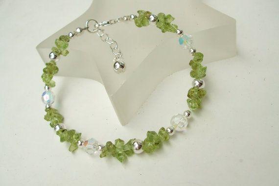Peridot bracelet Sterling Silver green by SheRocksGemjewellery