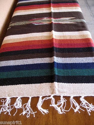 San Miguel Serape OSAN-Tan Handwoven Southwest Southwestern Blanket Afghan
