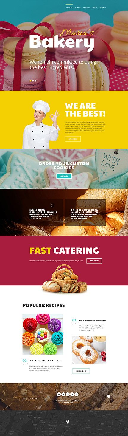 Template 58701 - Bakery Shop Responsive Website Template with Slider and Page-Wide Banners