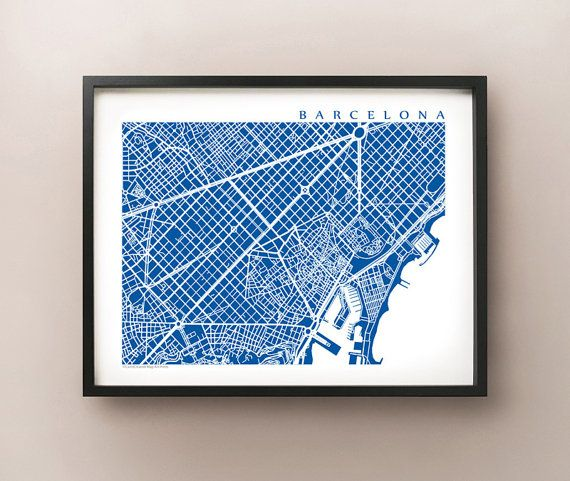 Barcelona map print. Features the streets of Barcelona, Spain.    Choose between 70 different colours! View additional images to see colour