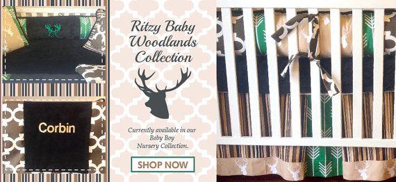Deer Head Custom Boy Bedding Custom Baby Boy by RitzyBabyOriginal