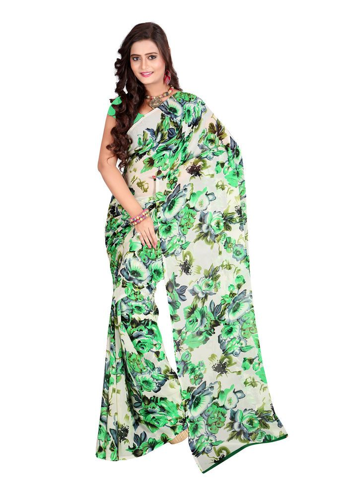 Fabdeal Traditional Wear Cream And Green Dani Georgette Printed Saree