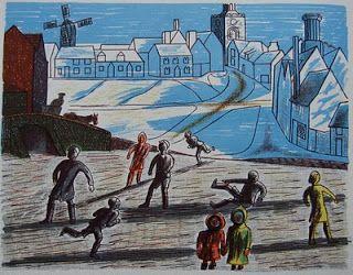 Edward Bawden, Children Skating (lithograph), 1946.