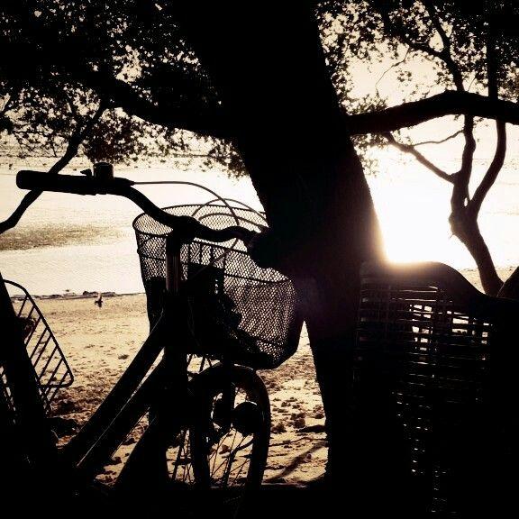 Bike beach and sunset