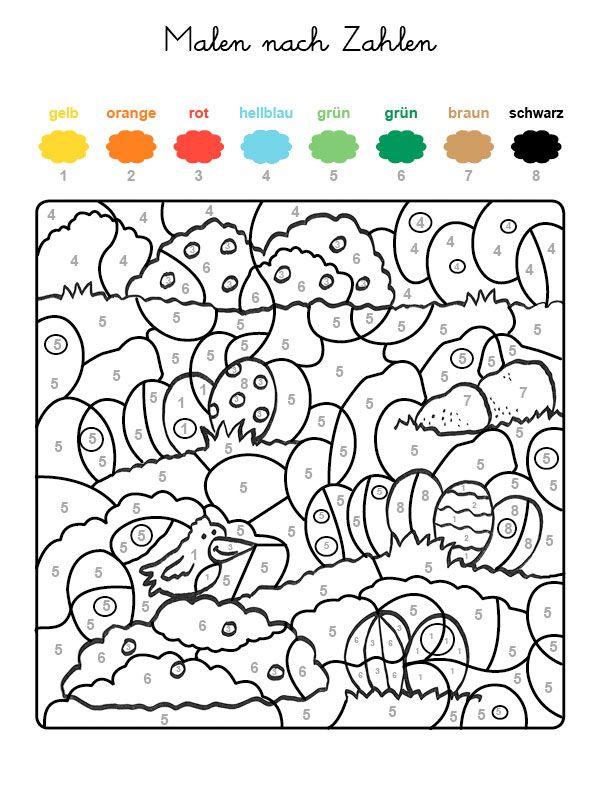 Ausmalbild Malen nach Zahlen: Ostereier ausmalen kostenlos ausdrucken