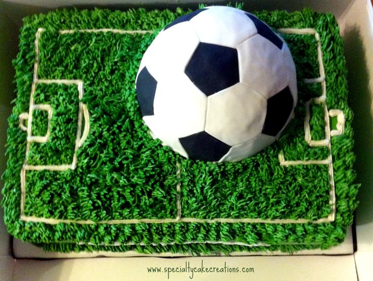 Two boys of a Calgary soccer team visiting Kelowna celebrated their birthday during their visit. For the two little soccer players I created a soccer field cake with a large 3D soccer ball on top.