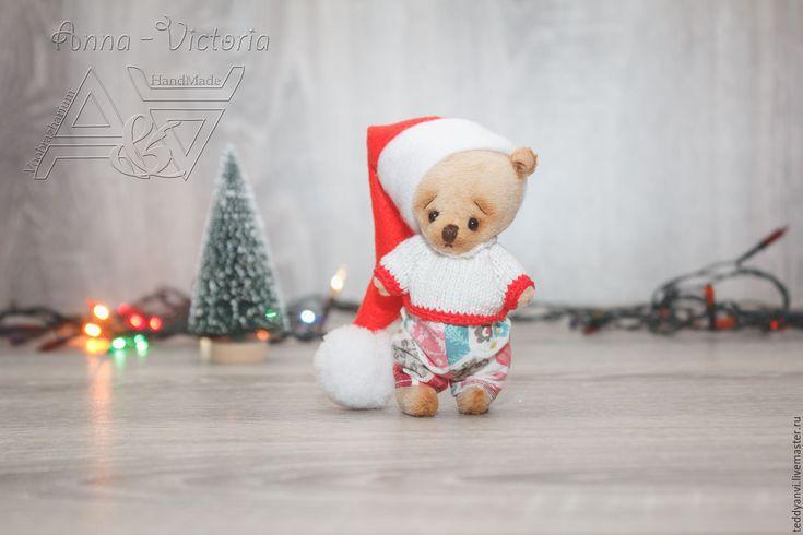 Купить Мишка в новогоднем колпачке - тедди, тедди в свитере, мишка в одежде, тедди в подарок
