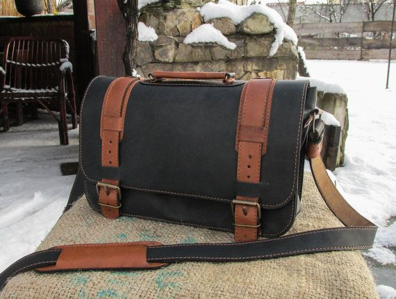 Hand Made Leather Satchel / Leather Shoulder Bag / Black Leather #Satchel / Leather Satchel Purse / Saddle Bag #transylvanianmonk #saddlebag #handmade