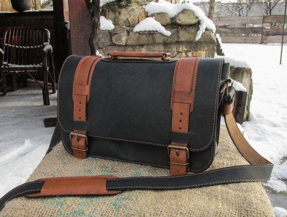 Hand Made Leather Satchel / Leather Shoulder Bag / Black Leather #Satchel / Leather Satchel Purse / Saddle Bag #transylvanianmonk #saddlebag #handmade