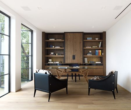Contemporary study with clean lines and leather accents   photo Justin Alexander   via Luigi Rosselli Architects  House & Home