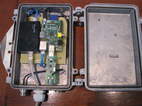 Raspberry Pi and RTL_SDR card installed in weathertight enclosure