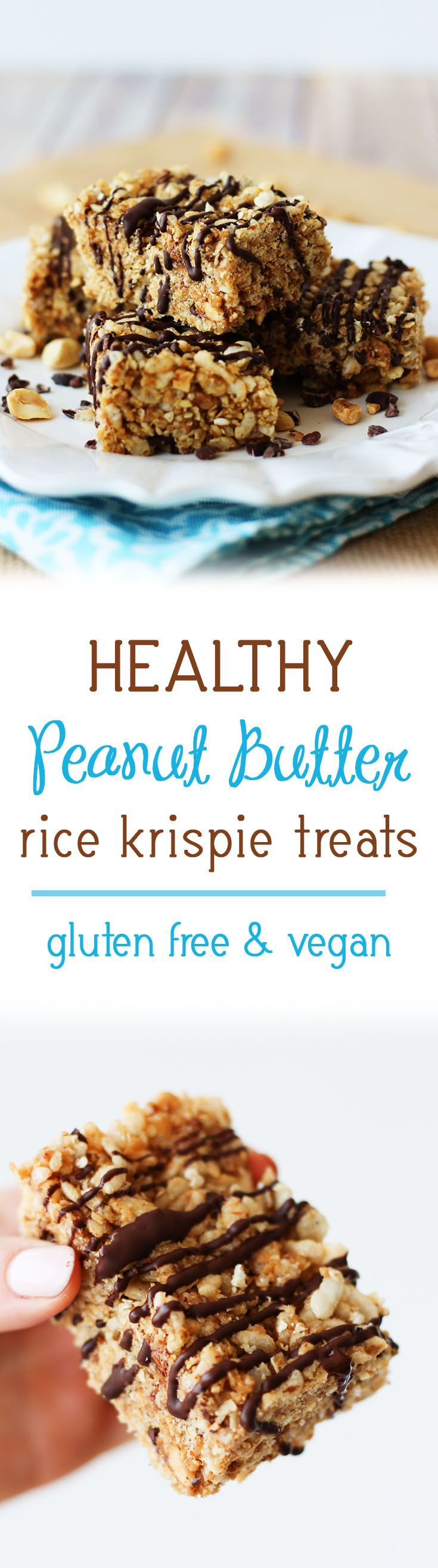 These healthy peanut butter rice krispie treats are perfect after work or school snacks and were created in partnership with Peanut Bureau . They're gluten free, vegan, and totally marshmallow-free, yet they're super fun for adults and kids, alike!