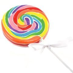 Large Lollipop Candle perfect for a Rainbow Party!  Give the final touch to your cake with our rainbow lollipop birthday candle!  available at http://viablossom.com