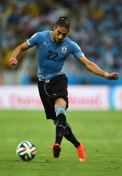 Martin Caceres of Uruguay against Costa Rica in the 2014 World Cup
