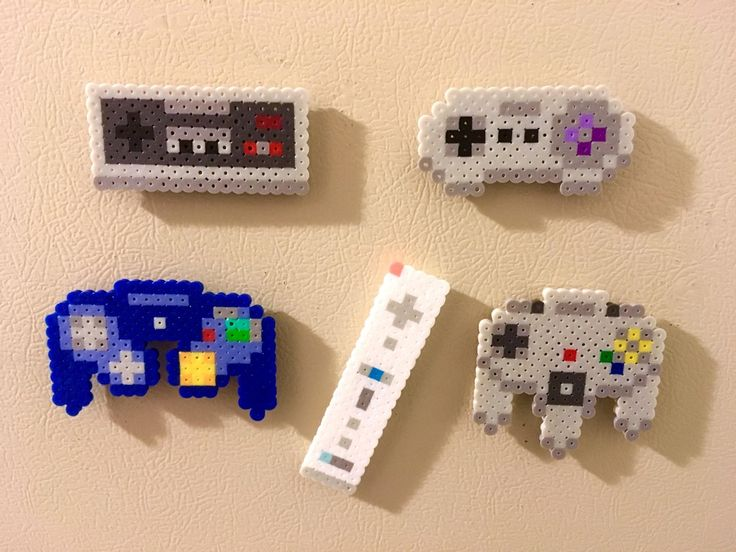 I made some Nintendo Controller magnets out of Perler Beads: gaming