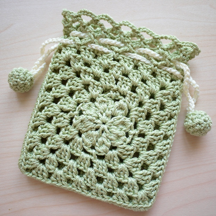 Crocheted Drawstring Pouch - Green. via Etsy.