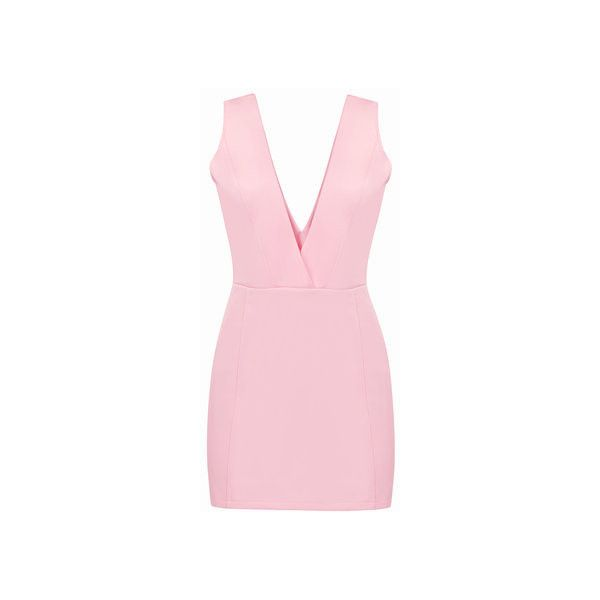 Yoins Pink Sexy Plunge V-neck Sleeveless Bodycon Dress ($19) ❤ liked on Polyvore featuring dresses, v neck dress, pink sleeveless dress, sexy body con dresses, v neck bodycon dress and sexy cocktail dresses