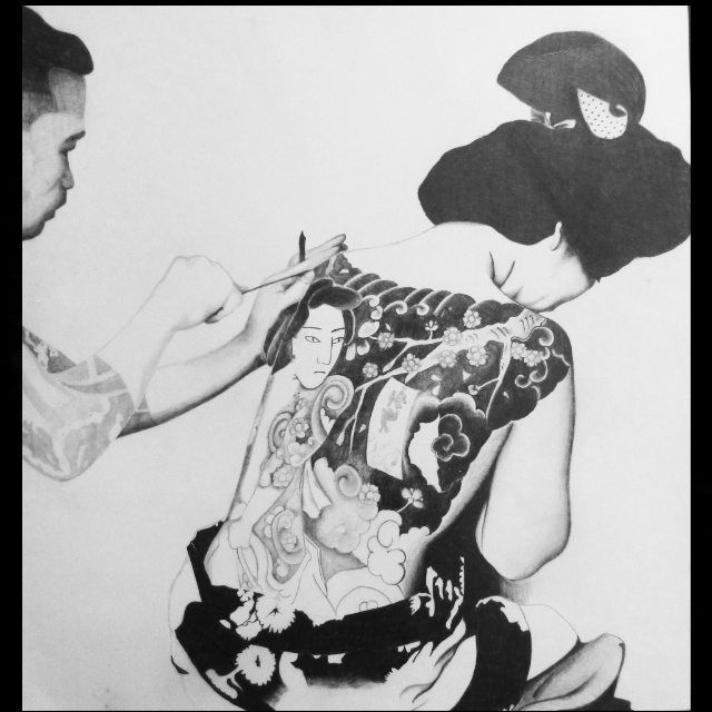 Traditional japanese tattoo artist - pencil drawing
