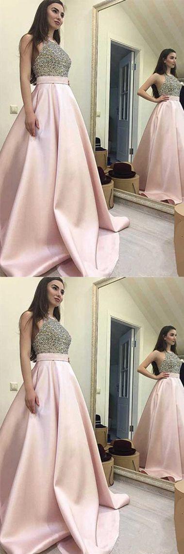 Long Prom Dresses,Pink Prom Dresses, Halter Prom Dresses,Backless Prom Dress,A Line Prom Gowns,Pink Prom Gowns,Beaded Prom Gowns,Graduation Dresses,Homecoming Dresses,Prom Dresses 2017